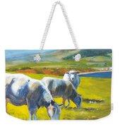 Three Sheep On A Devon Cliff Top Weekender Tote Bag