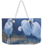 Three Snowy Egrets Weekender Tote Bag