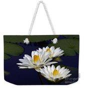 Three White Tropical Water Lilies Version 2 Weekender Tote Bag