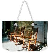 Three Wooden Rocking Chairs On Sunny Porch Weekender Tote Bag