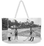 Three Young Children Play Golf Weekender Tote Bag
