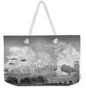 Thunderstorm Clouds And The Little House On The Prarie Bw Weekender Tote Bag