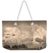 Thunderstorm Clouds And The Little House On The Prairie Sepia Weekender Tote Bag