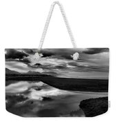 Tidal Pond Sunset New Zealand In Black And White Weekender Tote Bag