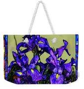 Tiffany Style Blue Iris Weekender Tote Bag