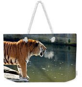 Tiger Breathing Into Cold Air By The Water Weekender Tote Bag