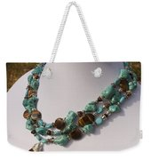 Tiger Eye And Turquoise Triple Strand Necklace 3640 Weekender Tote Bag