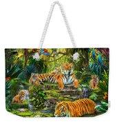 Tiger Family At The Pool Weekender Tote Bag