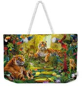 Tiger Family In The Jungle Weekender Tote Bag by Jan Patrik Krasny