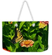 Tiger Swallowtail And Peppermint Stick Zinnias Weekender Tote Bag