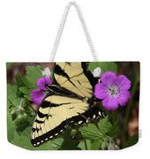Tiger Swallowtail Butterfly On Geranium Weekender Tote Bag