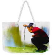 Tiger Woods Lines Up A Putt On The 18th Green Weekender Tote Bag