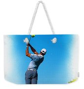 Tiger Woods Plays His Tee Shot On The 15th Hole Weekender Tote Bag