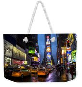 Times Square In The Rain Weekender Tote Bag by Garry Gay
