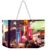 Times Square - Man Walking With Yellow Bag Weekender Tote Bag