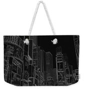 Times Square Nyc White On Black Weekender Tote Bag by Meandering Photography