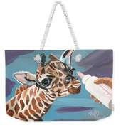 Tiny Baby Giraffe With Bottle Weekender Tote Bag