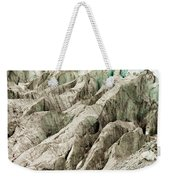 Tiny Man Walks Expansive Alpine Glacier Icefield Weekender Tote Bag