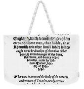Title Page Wine Book, 1568 Weekender Tote Bag