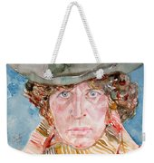 Tom Baker Doctor Who Watercolor Portrait Weekender Tote Bag