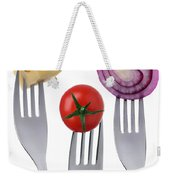 Tomato Cheese And Onion On Forks Against White Background Weekender Tote Bag