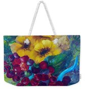 Too Delicate For Words - Yellow Flowers And Red Grapes Weekender Tote Bag