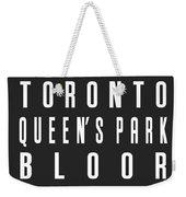 Toronto City Subway Sign Weekender Tote Bag
