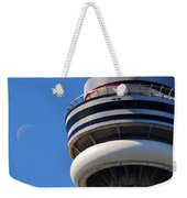 Toronto Cn Tower Moon And Jet Trail Weekender Tote Bag
