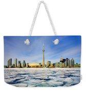 Toronto Skyline In Winter Weekender Tote Bag