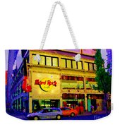 Toronto Street Scene Night Scapes Hard Rock Cafe Downtown Drive By City Lights Canadian Art Cspandau Weekender Tote Bag