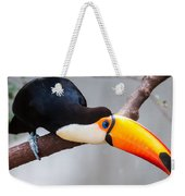 Toucan Ramphastos Toco Sitting On Tree Branch In Tropical Fore Weekender Tote Bag
