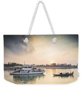 Tourist Boat On Sunset Cruise In Phnom Penh Cambodia River Weekender Tote Bag
