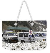 Tourist Vehicles Parked At The No Parking Sign In Sonmarg Weekender Tote Bag