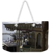 Tourists At The Front Section Of Houseboats Lined Up Along Dal Lake Weekender Tote Bag