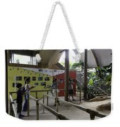 Tourists In A Queue At One Of The Exhibits Inside The Jurong Bird Park Weekender Tote Bag