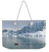 Tourists In Zodiac Boat Paradise Bay Weekender Tote Bag