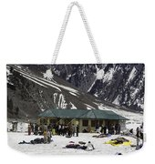Tourists Surrounded By Snow And Ice Outside One Of The Few Buildings Weekender Tote Bag