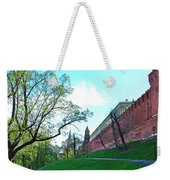 Tower And Wall From Park Outside Kremlin In Moscow-russia Weekender Tote Bag