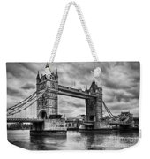 Tower Bridge In London Uk Black And White Weekender Tote Bag