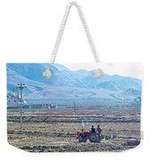 Tractor Used In Farming Along The Road To Shigatse-tibet Weekender Tote Bag