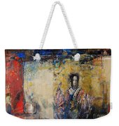 Traditional Dance In Front Of A Yellow Curtain Weekender Tote Bag