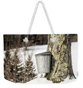 Traditional Sap Bucket On Maple Tree In Vermont Weekender Tote Bag