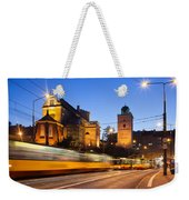 Traffic On The Solidarity Avenue In Warsaw Weekender Tote Bag