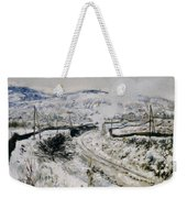 Train In The Snow At Argenteuil Weekender Tote Bag by Claude Monet