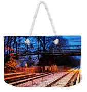 Train Station First Snow Weekender Tote Bag