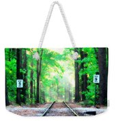 Train Tracks In Forest Weekender Tote Bag