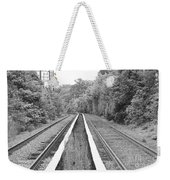 Train Tracks Running Through The Forest Weekender Tote Bag