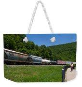 Train Watching At The Horseshoe Curve Altoona Pennsylvania Weekender Tote Bag