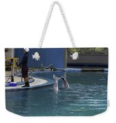 Trainer And 2 Dolphins At The Underwater World In Sentosa Weekender Tote Bag