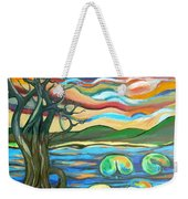 Tree And Lilies At Sunrise Weekender Tote Bag